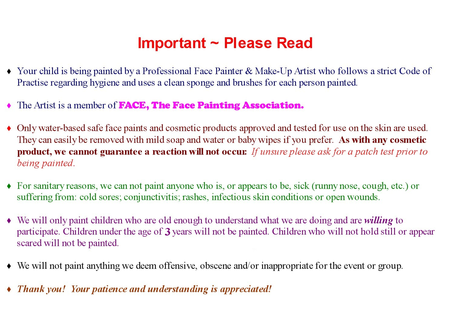 Face Painting Photo And Disclaimer Form